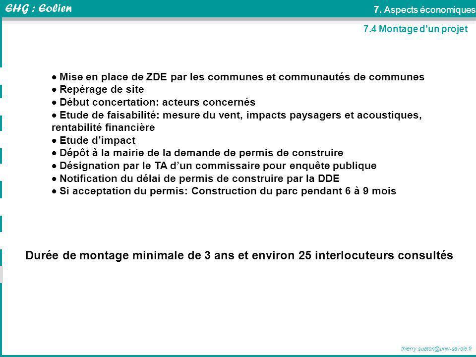 thierry.suaton@univ-savoie.fr 7.4 Montage dun projet Mise en place de ZDE par les communes et communautés de communes Repérage de site Début concertat