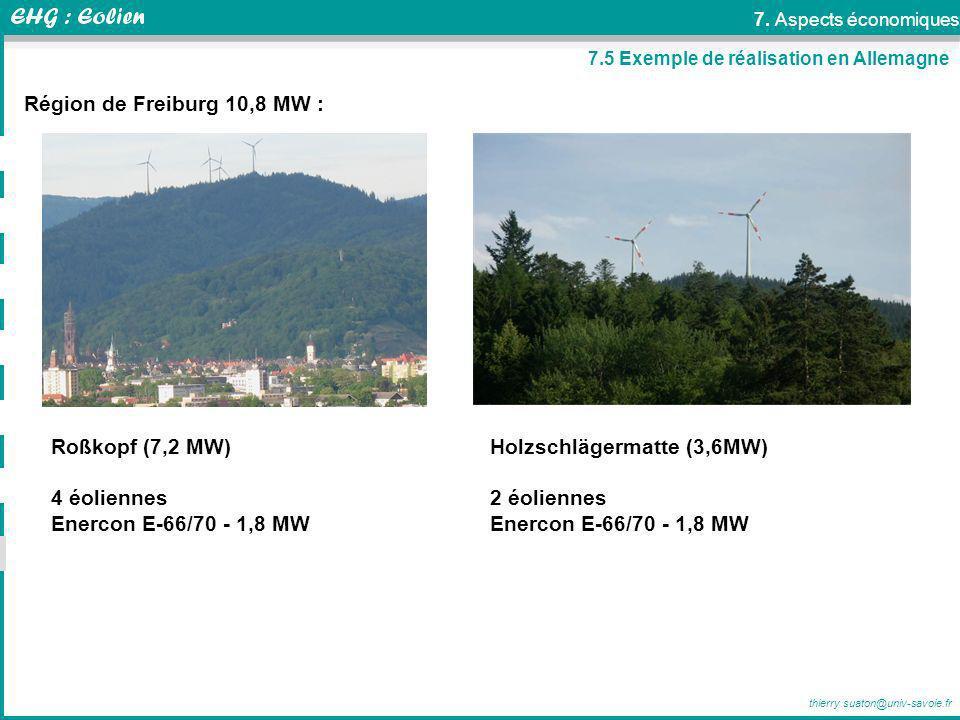 thierry.suaton@univ-savoie.fr 7.5 Exemple de réalisation en Allemagne Région de Freiburg 10,8 MW : Roßkopf (7,2 MW) 4 éoliennes Enercon E-66/70 - 1,8