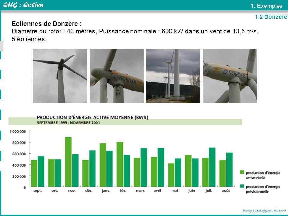 thierry.suaton@univ-savoie.fr 1. Exemples Eoliennes de Donzère : Diamètre du rotor : 43 mètres, Puissance nominale : 600 kW dans un vent de 13,5 m/s.