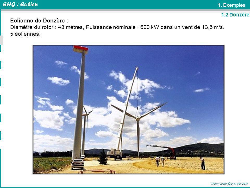 thierry.suaton@univ-savoie.fr 1. Exemples Eolienne de Donzère : Diamètre du rotor : 43 mètres, Puissance nominale : 600 kW dans un vent de 13,5 m/s. 5