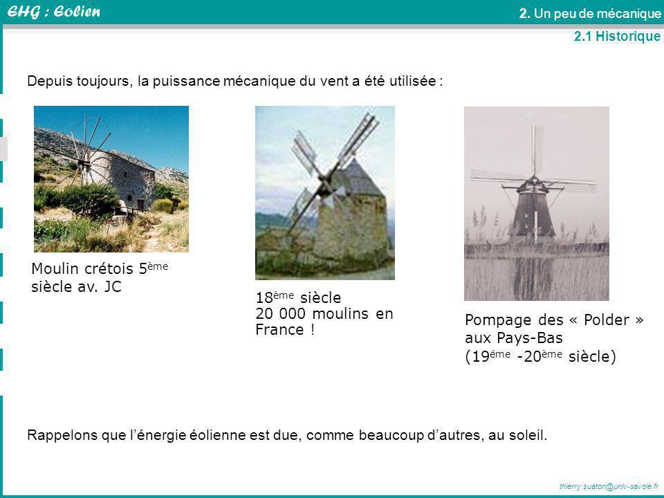 thierry.suaton@univ-savoie.fr 2. Un peu de mécanique Moulin crétois 5 ème siècle av. JC Pompage des « Polder » aux Pays-Bas (19 éme -20 ème siècle) 18