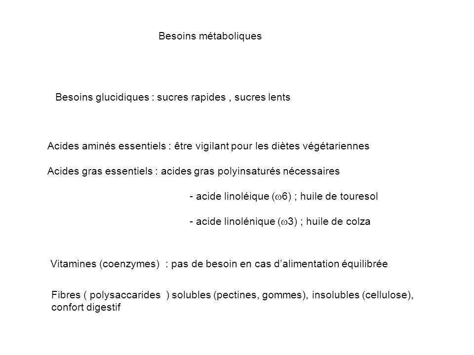 Besoins métaboliques Acides aminés essentiels : être vigilant pour les diètes végétariennes Acides gras essentiels : acides gras polyinsaturés nécessa