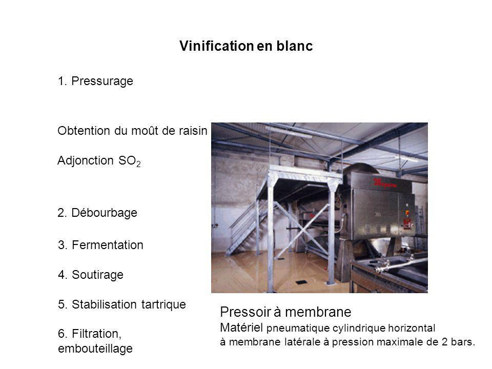 Vinification en blanc 1. Pressurage Obtention du moût de raisin Adjonction SO 2 2. Débourbage 3. Fermentation 4. Soutirage 5. Stabilisation tartrique