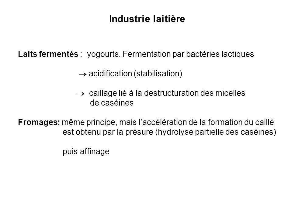 Industrie laitière Laits fermentés : yogourts. Fermentation par bactéries lactiques acidification (stabilisation) caillage lié à la destructuration de