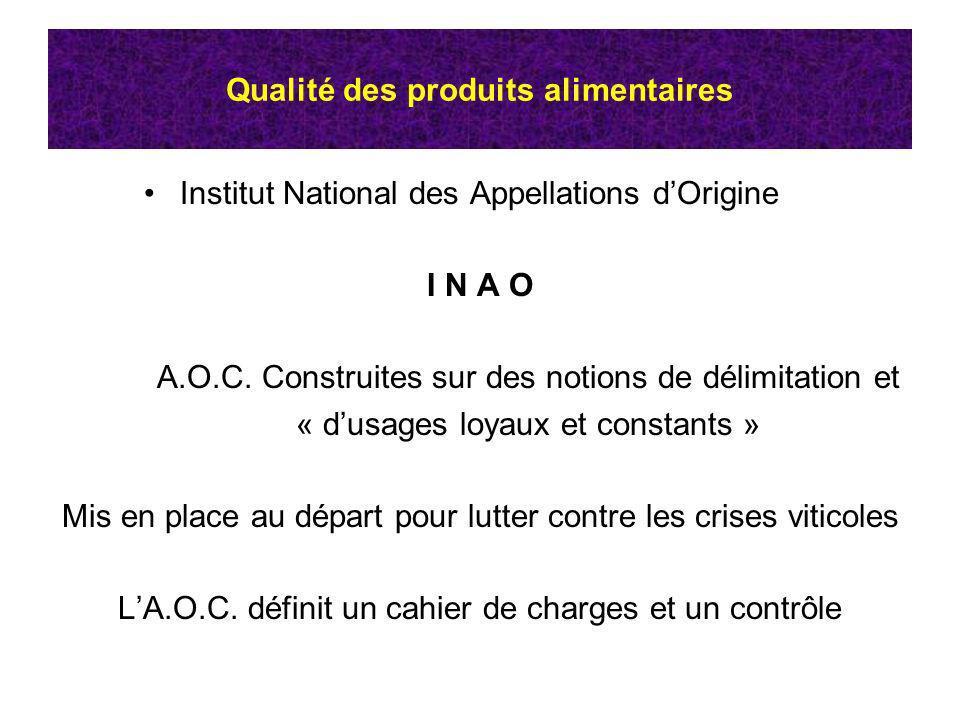 Qualité des produits alimentaires Institut National des Appellations dOrigine I N A O A.O.C. Construites sur des notions de délimitation et « dusages