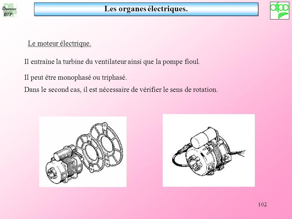 102 Les organes électriques. Le moteur électrique. Il entraîne la turbine du ventilateur ainsi que la pompe fioul. Il peut être monophasé ou triphasé.