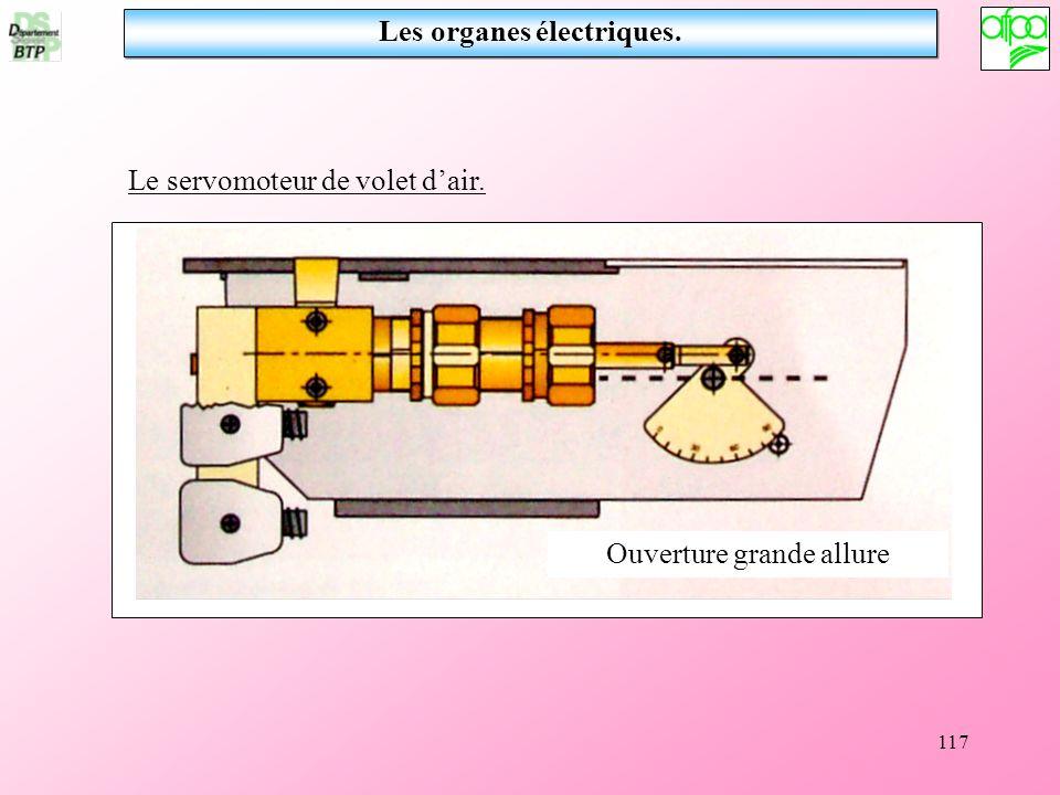 117 Le servomoteur de volet dair. Ouverture grande allure Les organes électriques.