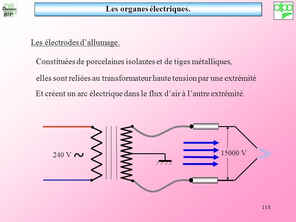 118 Les électrodes dallumage. Constituées de porcelaines isolantes et de tiges métalliques, elles sont reliées au transformateur haute tension par une