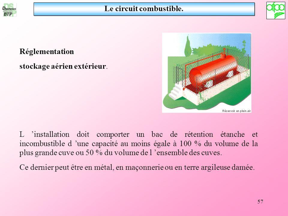 57 Le circuit combustible. L installation doit comporter un bac de rétention étanche et incombustible d une capacité au moins égale à 100 % du volume