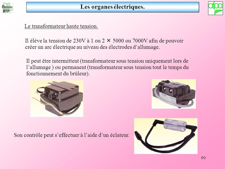 90 Les organes électriques. Le transformateur haute tension. Il élève la tension de 230V à 1 ou 2 5000 ou 7000V afin de pouvoir créer un arc électriqu