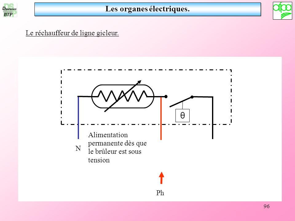 96 Les organes électriques. θ N Ph Alimentation permanente dès que le brûleur est sous tension Le réchauffeur de ligne gicleur.