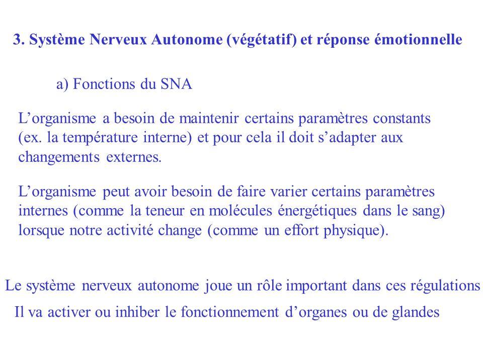 3. Système Nerveux Autonome (végétatif) et réponse émotionnelle Lorganisme a besoin de maintenir certains paramètres constants (ex. la température int