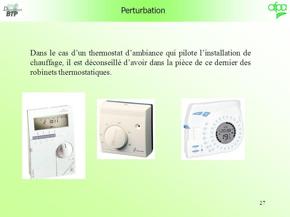 27 Perturbation Dans le cas dun thermostat dambiance qui pilote linstallation de chauffage, il est déconseillé davoir dans la pièce de ce dernier des robinets thermostatiques.