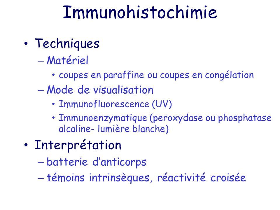 Immunohistochimie Techniques – Matériel coupes en paraffine ou coupes en congélation – Mode de visualisation Immunofluorescence (UV) Immunoenzymatique