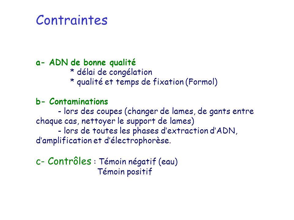 Contraintes a- ADN de bonne qualité * délai de congélation * qualité et temps de fixation (Formol) b- Contaminations - lors des coupes (changer de lam