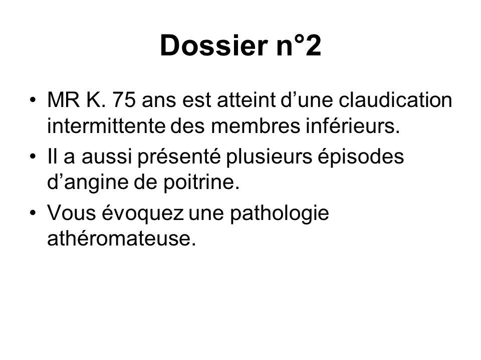 Dossier n°2 MR K. 75 ans est atteint dune claudication intermittente des membres inférieurs. Il a aussi présenté plusieurs épisodes dangine de poitrin