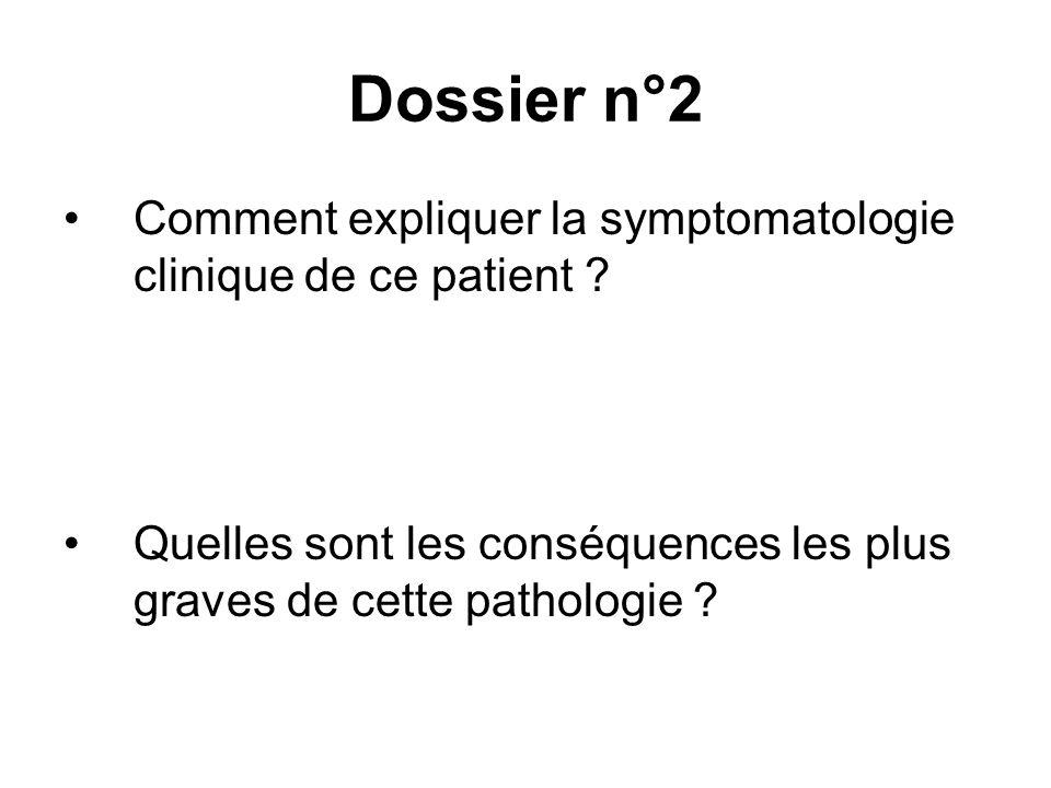 Comment expliquer la symptomatologie clinique de ce patient ? Quelles sont les conséquences les plus graves de cette pathologie ?