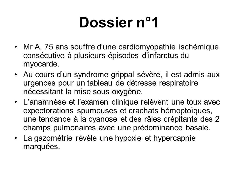 Dossier n°1 Mr A, 75 ans souffre dune cardiomyopathie ischémique consécutive à plusieurs épisodes dinfarctus du myocarde. Au cours dun syndrome grippa