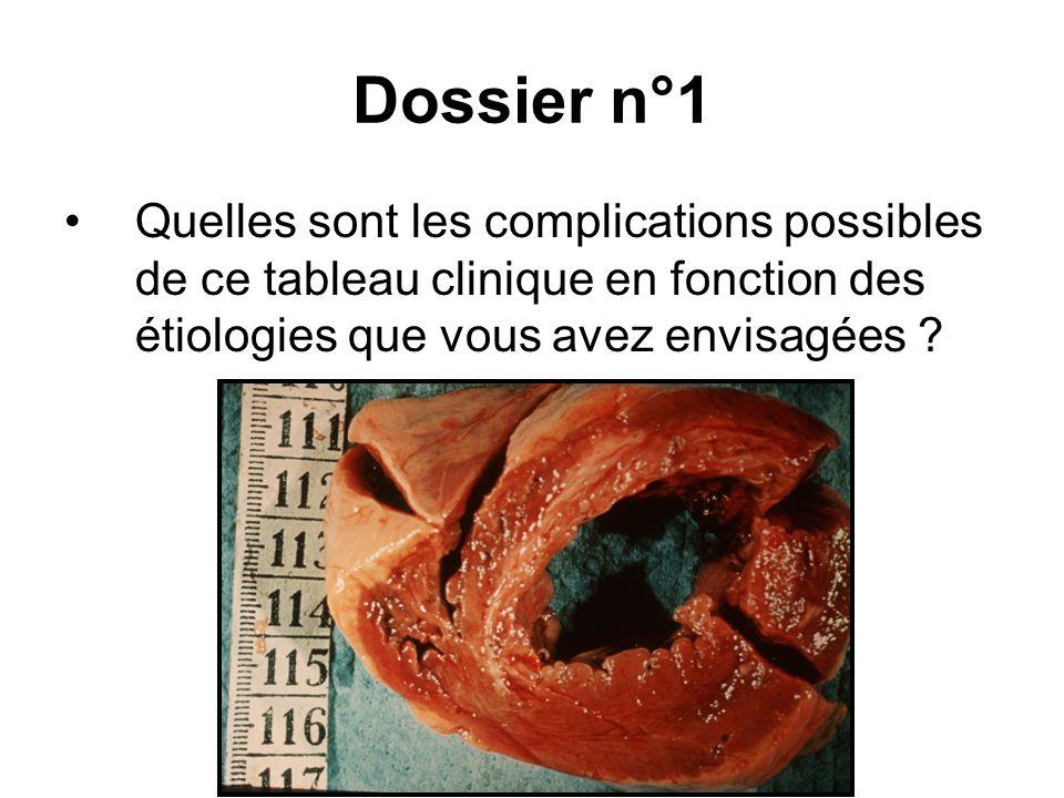 Dossier n°1 Quelles sont les complications possibles de ce tableau clinique en fonction des étiologies que vous avez envisagées ?