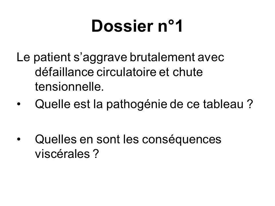 Dossier n°1 Le patient saggrave brutalement avec défaillance circulatoire et chute tensionnelle. Quelle est la pathogénie de ce tableau ? Quelles en s
