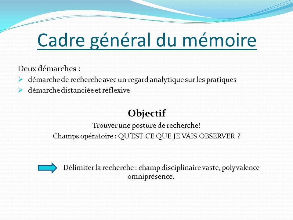 Cadre général du mémoire Deux démarches :  démarche de recherche avec un regard analytique sur les pratiques  démarche distanciée et réflexive Objectif Trouver une posture de recherche.
