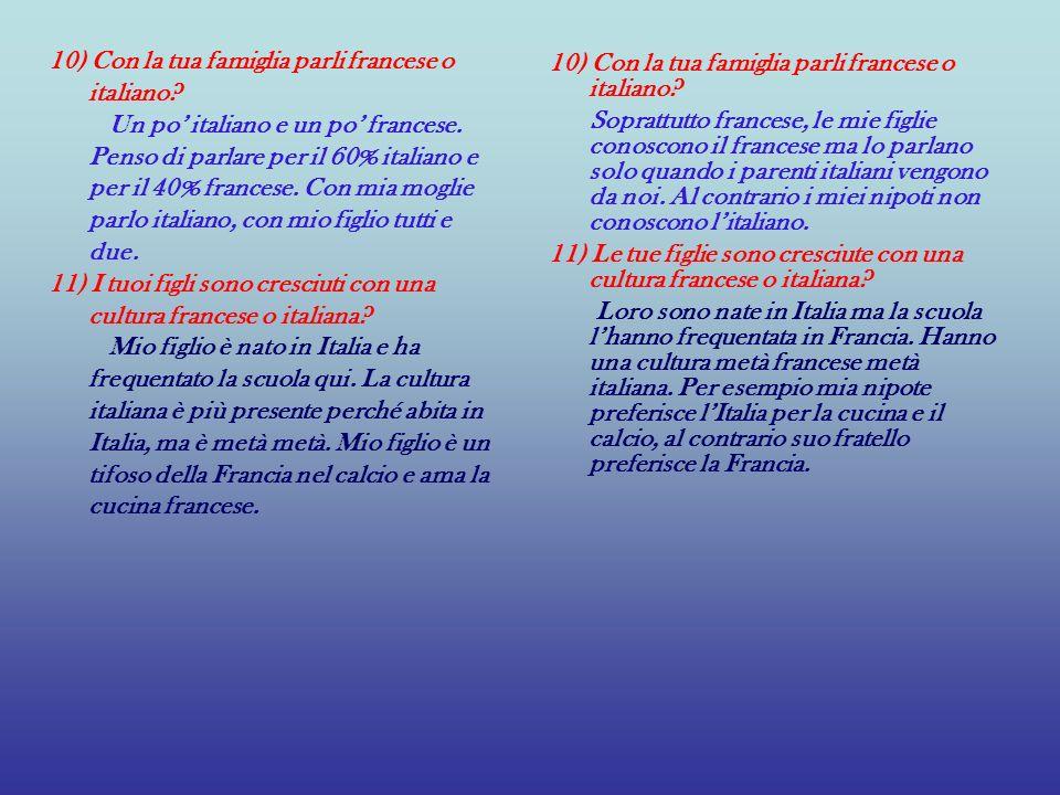 10) Con la tua famiglia parli francese o italiano? Un po italiano e un po francese. Penso di parlare per il 60% italiano e per il 40% francese. Con mi