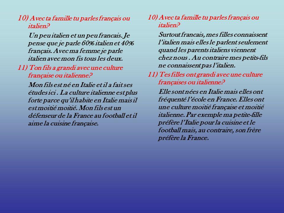 10) Avec ta famille tu parles français ou italien? Un peu italien et un peu francais. Je pense que je parle 60% italien et 40% français. Avec ma femme