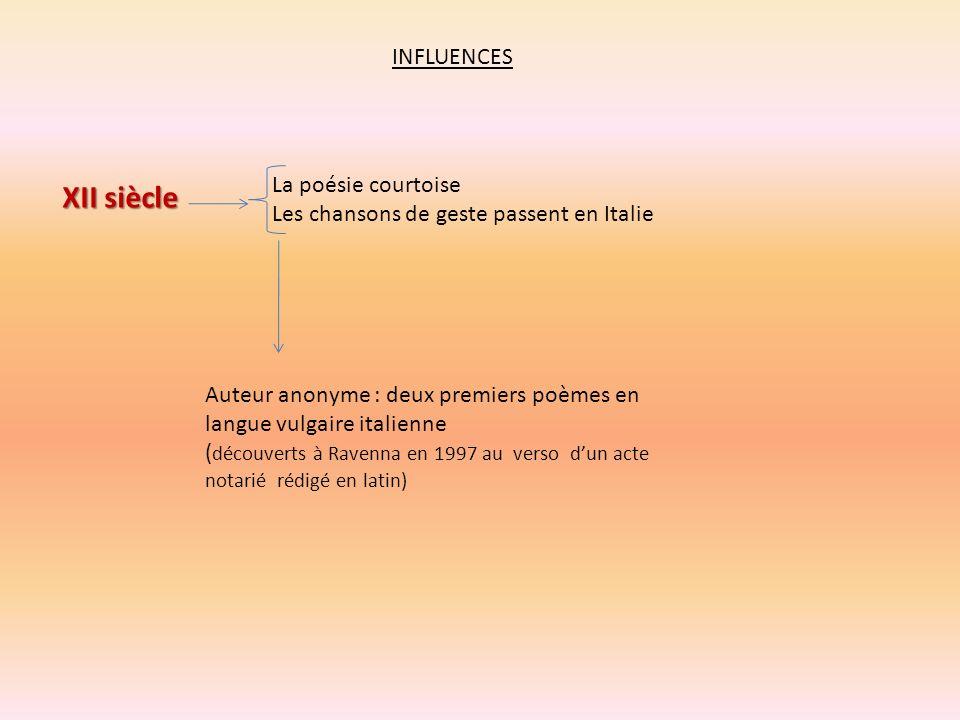 INFLUENCES XII siècle La poésie courtoise Les chansons de geste passent en Italie Auteur anonyme : deux premiers poèmes en langue vulgaire italienne (