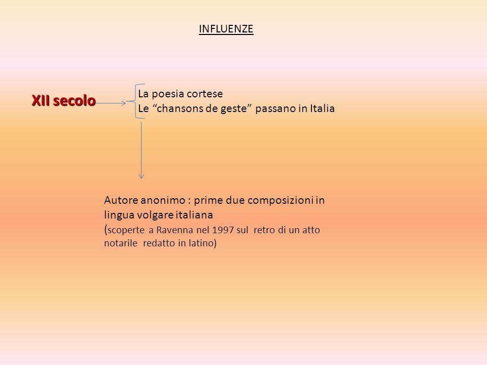 INFLUENZE XII secolo La poesia cortese Le chansons de geste passano in Italia Autore anonimo : prime due composizioni in lingua volgare italiana ( sco