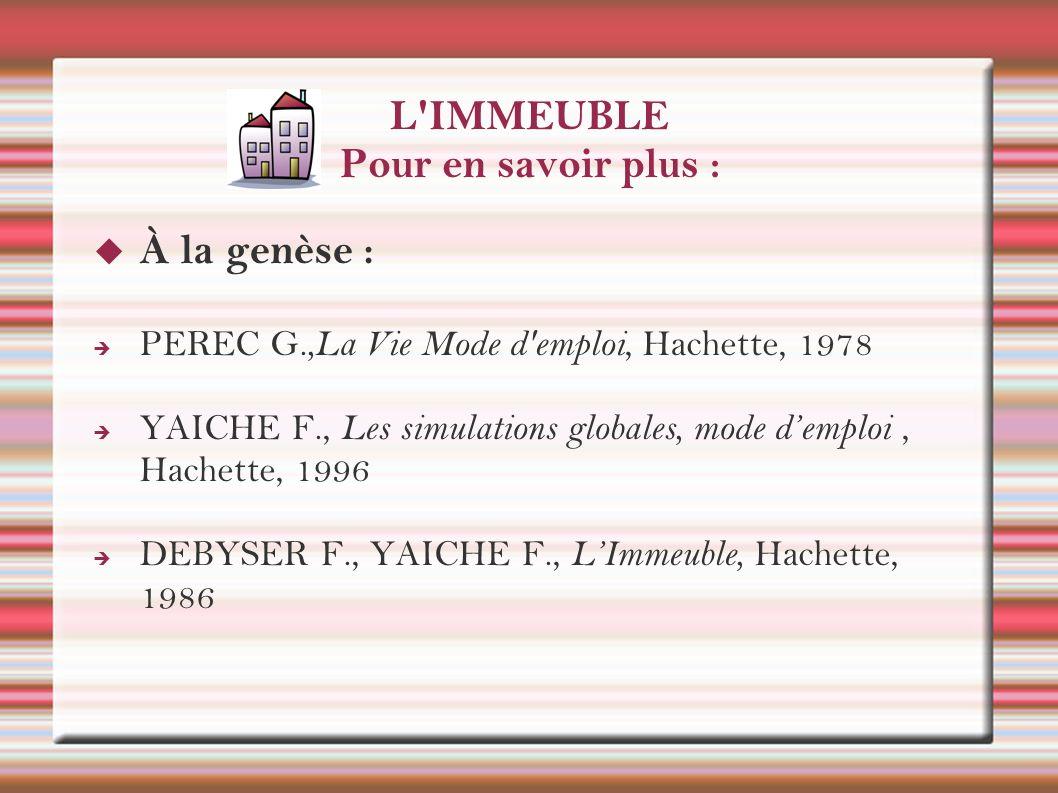 L'IMMEUBLE Pour en savoir plus : À la genèse : PEREC G.,La Vie Mode d'emploi, Hachette, 1978 YAICHE F., Les simulations globales, mode demploi, Hachet