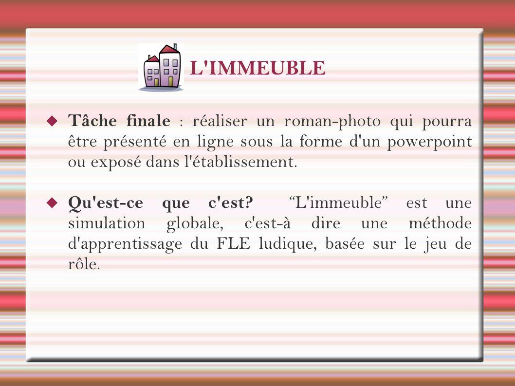 L'IMMEUBLE Tâche finale : réaliser un roman-photo qui pourra être présenté en ligne sous la forme d'un powerpoint ou exposé dans l'établissement. Qu'e