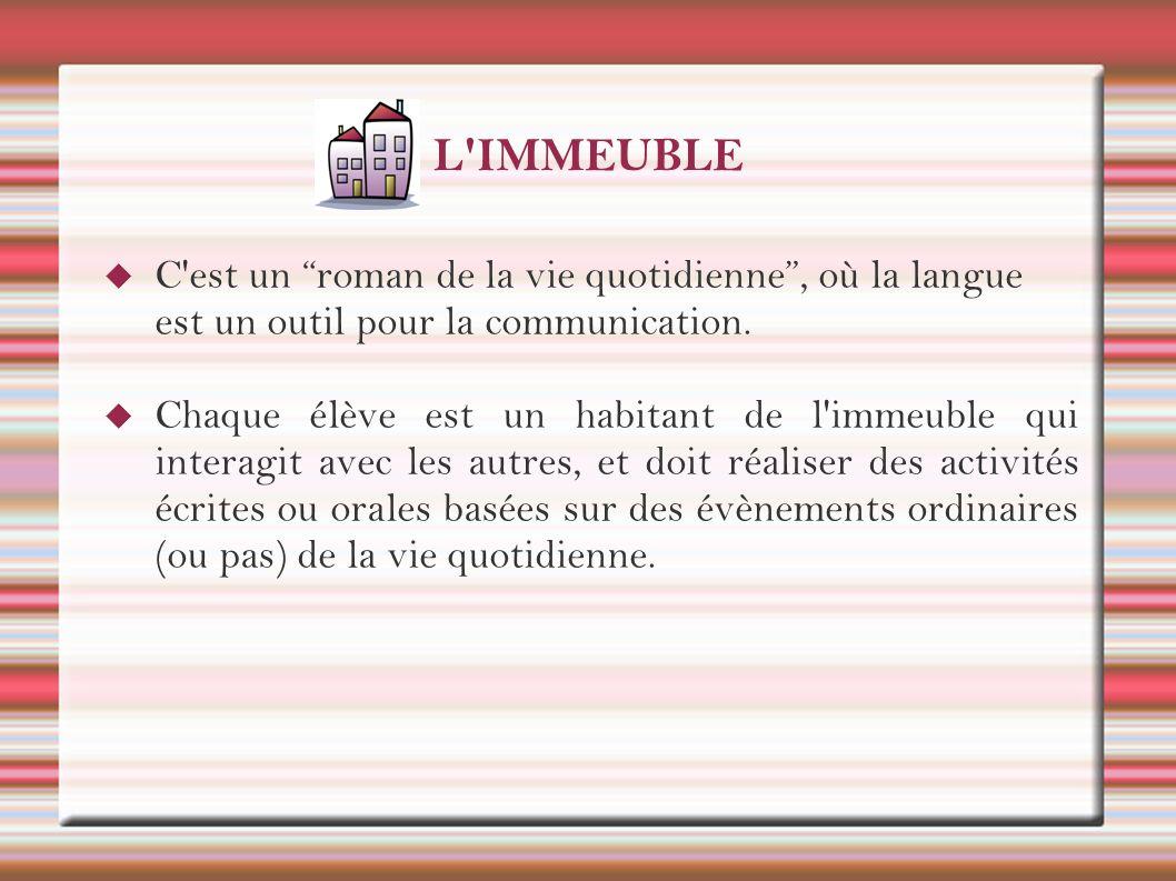 L'IMMEUBLE C'est un roman de la vie quotidienne, où la langue est un outil pour la communication. Chaque élève est un habitant de l'immeuble qui inter