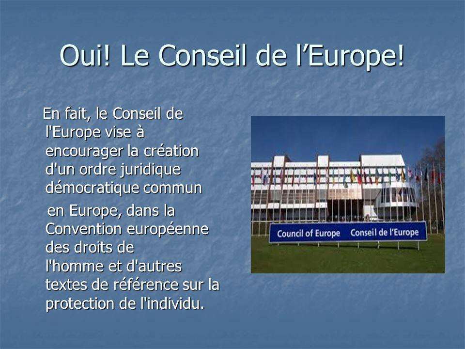 Oui. Le Conseil de lEurope.