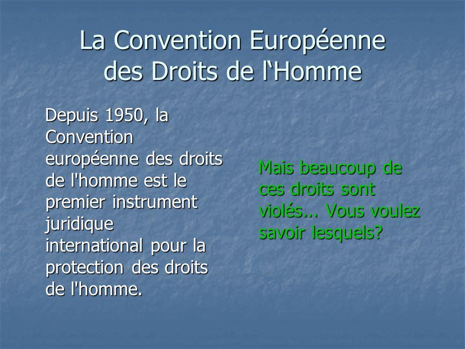 La Convention Européenne des Droits de lHomme Depuis 1950, la Convention européenne des droits de l homme est le premier instrument juridique international pour la protection des droits de l homme.