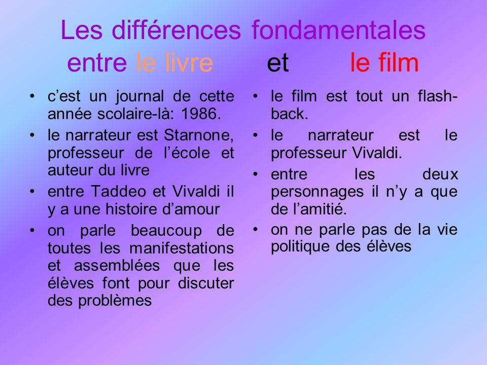 Les différences fondamentales entre le livre et le film cest un journal de cette année scolaire-là: 1986. le narrateur est Starnone, professeur de léc