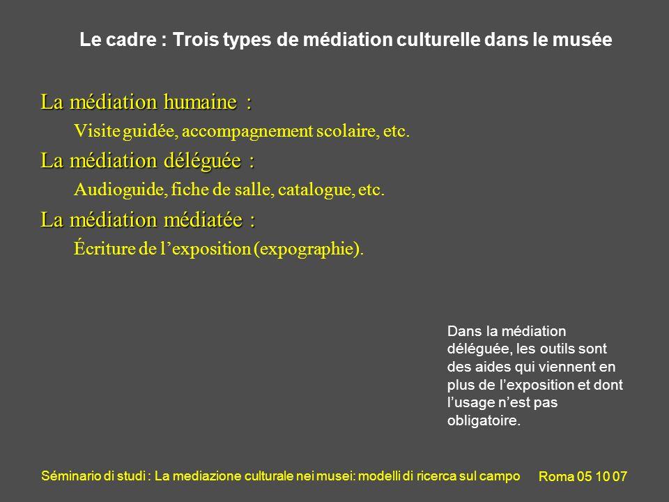 Séminario di studi : La mediazione culturale nei musei: modelli di ricerca sul campo Roma 05 10 07 Le cadre : Trois types de médiation culturelle dans