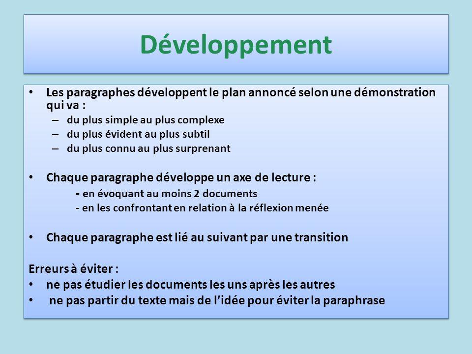 Développement Les paragraphes développent le plan annoncé selon une démonstration qui va : – du plus simple au plus complexe – du plus évident au plus
