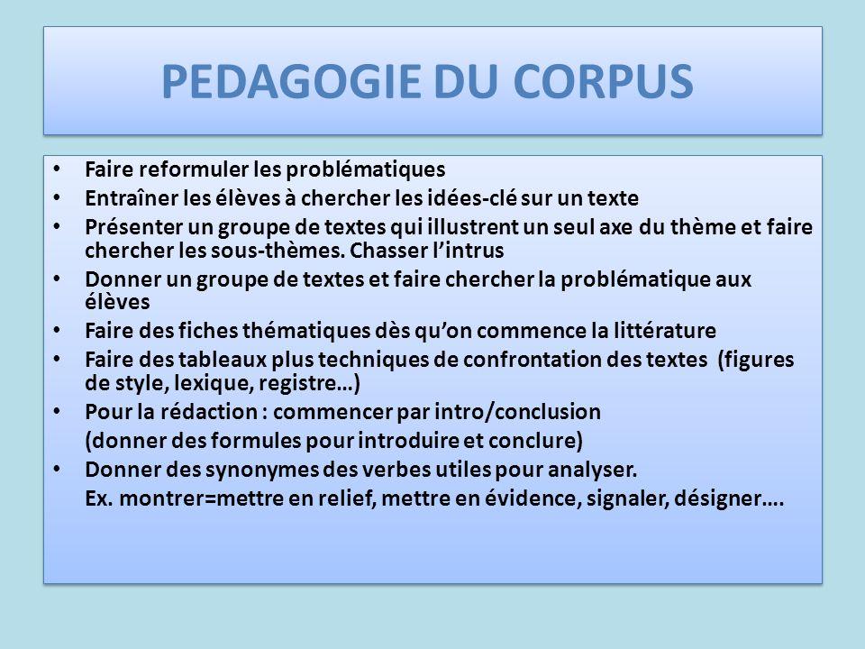 PEDAGOGIE DU CORPUS Faire reformuler les problématiques Entraîner les élèves à chercher les idées-clé sur un texte Présenter un groupe de textes qui i