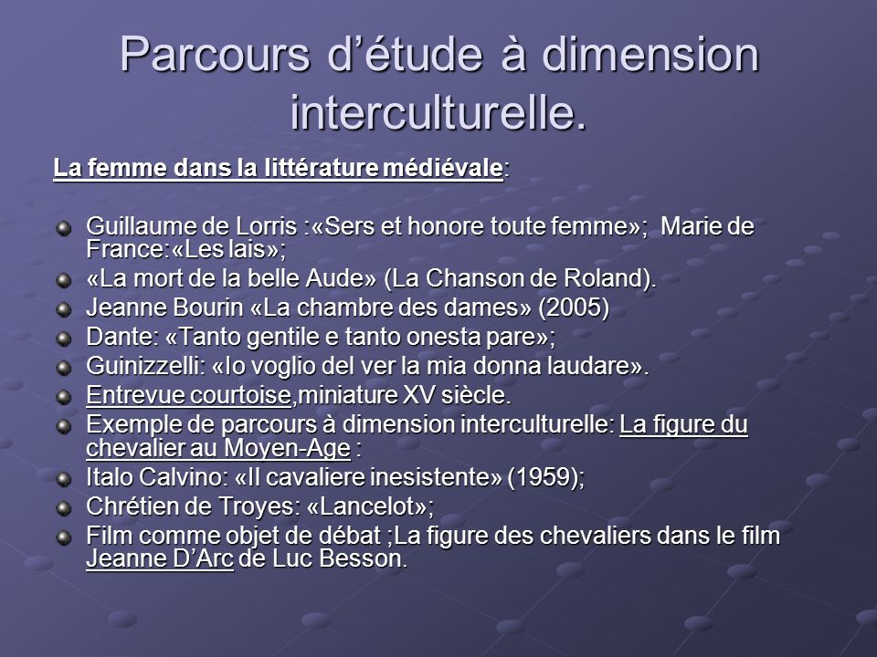 Parcours détude à dimension interculturelle.