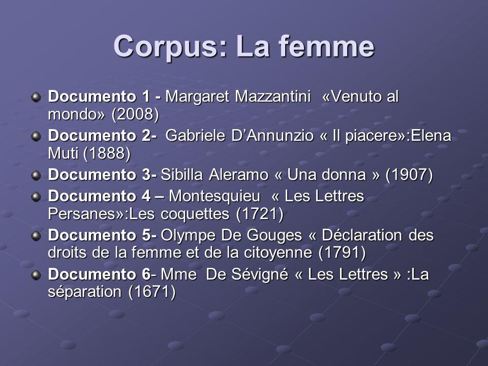 Documento 7- Baudelaire « Les Fleurs du Mal » :Le serpent qui danse (1857) Documento 8- Christine de Pisan«La querelle des femmes» (1405) Documento 9- Mérimée « Carmen »(1845) Documento 10- S.