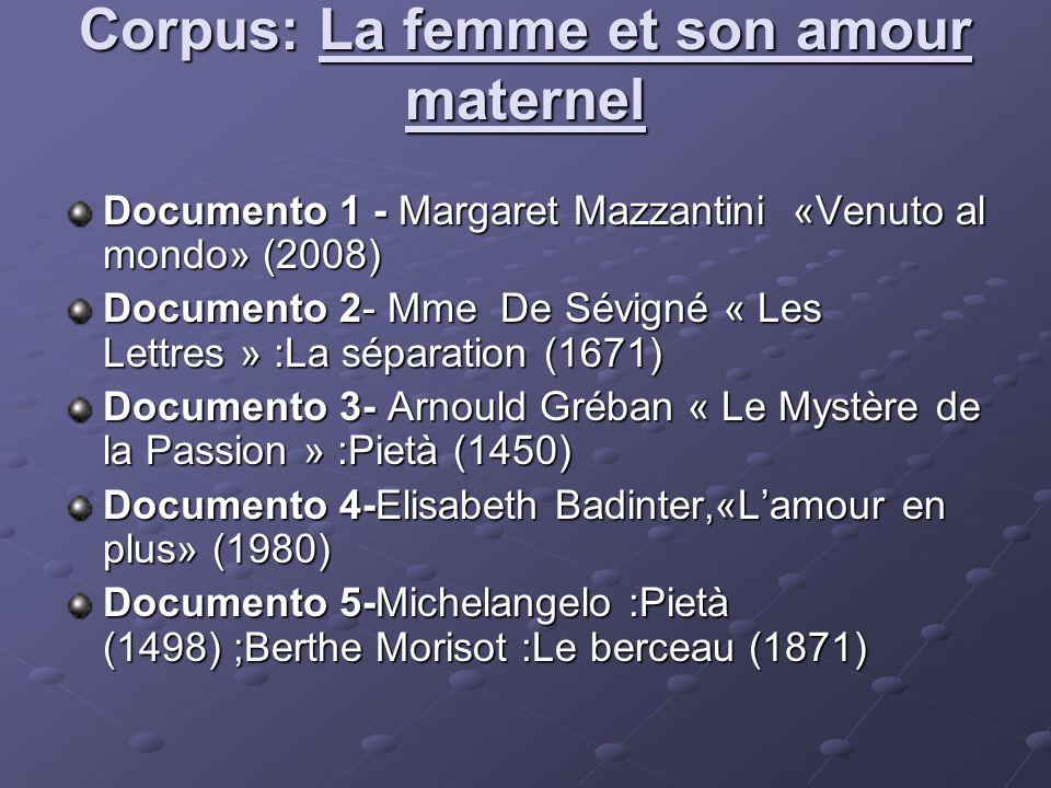 Corpus: La femme et ses revendications sociales Documento 1-Sibilla Aleramo,«Una donna» (1907) Documento 2-Olympe De Gouges,«Déclaration des droits de la femme et de la citoyenne» (1791) Documento 3-Christine de Pisan «La querelle des femmes» (1405) Documento 4-S.