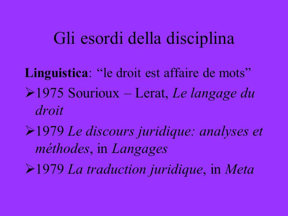 Gli esordi della disciplina Linguistica: le droit est affaire de mots 1975 Sourioux – Lerat, Le langage du droit 1979 Le discours juridique: analyses