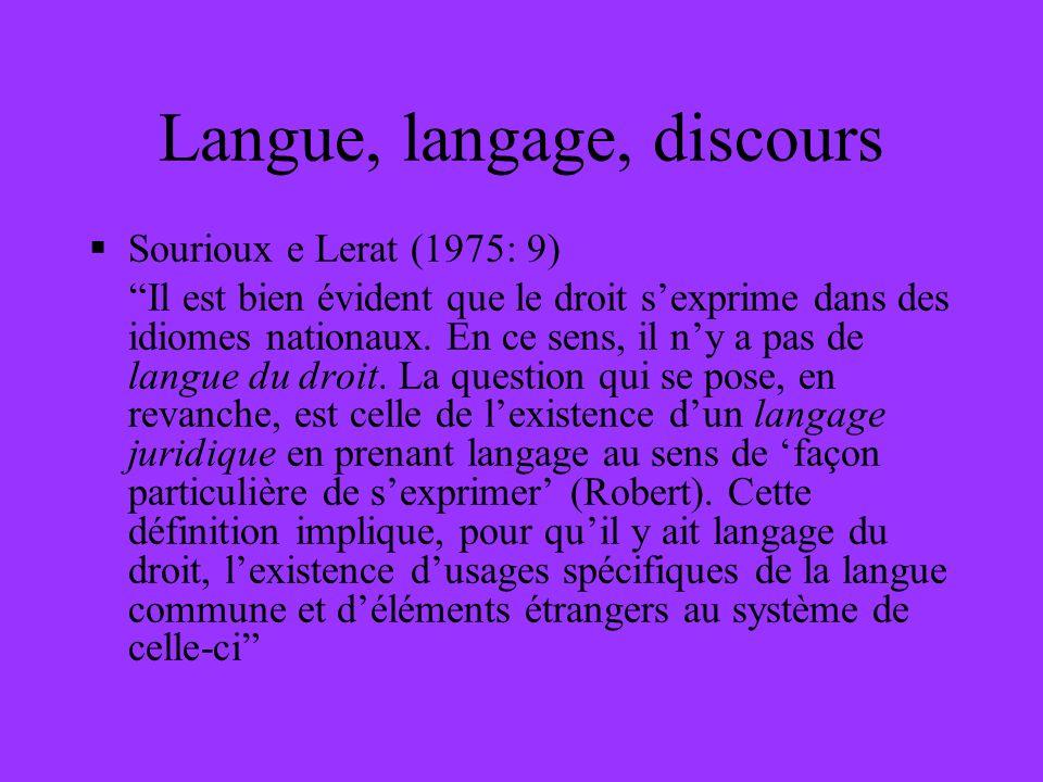Langue, langage, discours Sourioux e Lerat (1975: 9) Il est bien évident que le droit sexprime dans des idiomes nationaux. En ce sens, il ny a pas de