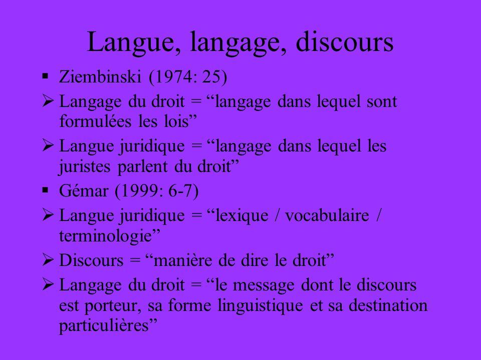 Langue, langage, discours Ziembinski (1974: 25) Langage du droit = langage dans lequel sont formulées les lois Langue juridique = langage dans lequel