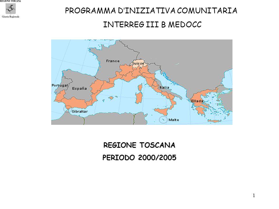 1 PROGRAMMA DINIZIATIVA COMUNITARIA INTERREG III B MEDOCC REGIONE TOSCANA PERIODO 2000/2005