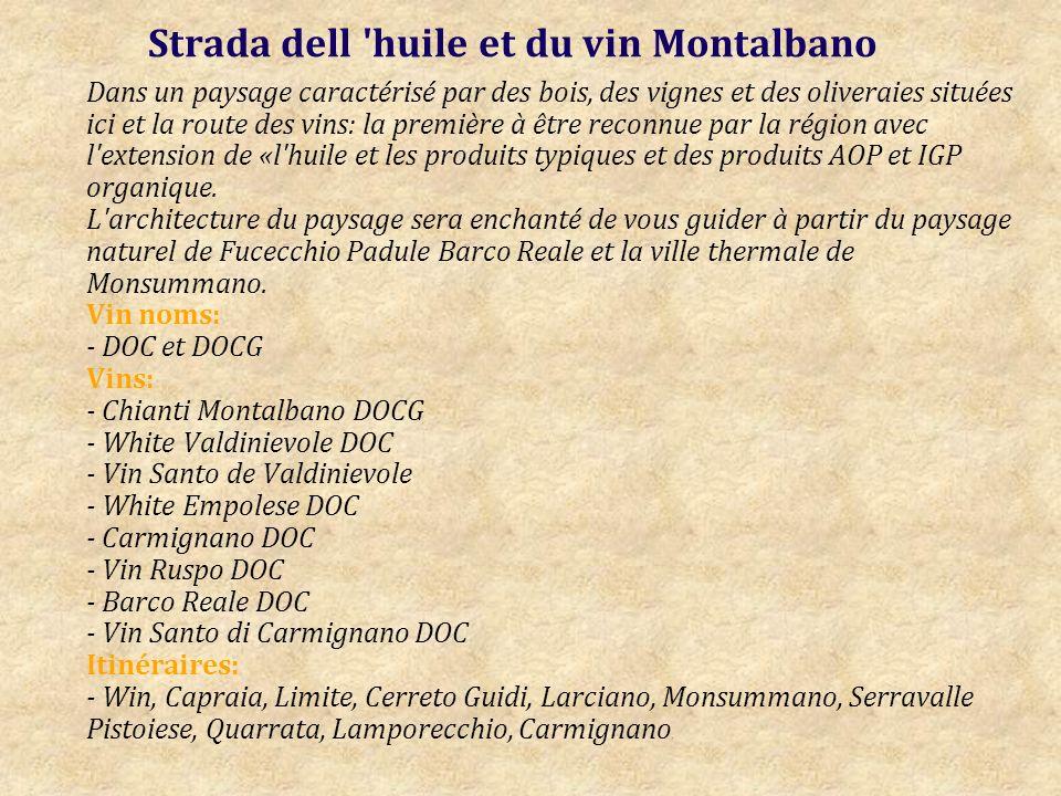 Strada dell huile et du vin Montalbano Dans un paysage caractérisé par des bois, des vignes et des oliveraies situées ici et la route des vins: la première à être reconnue par la région avec l extension de «l huile et les produits typiques et des produits AOP et IGP organique.
