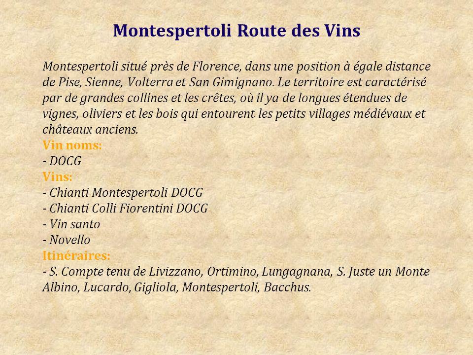 Montespertoli Route des Vins Montespertoli situé près de Florence, dans une position à égale distance de Pise, Sienne, Volterra et San Gimignano.