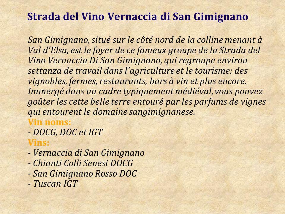 Strada del Vino Vernaccia di San Gimignano San Gimignano, situé sur le côté nord de la colline menant à Val d Elsa, est le foyer de ce fameux groupe de la Strada del Vino Vernaccia Di San Gimignano, qui regroupe environ settanza de travail dans l agriculture et le tourisme: des vignobles, fermes, restaurants, bars à vin et plus encore.