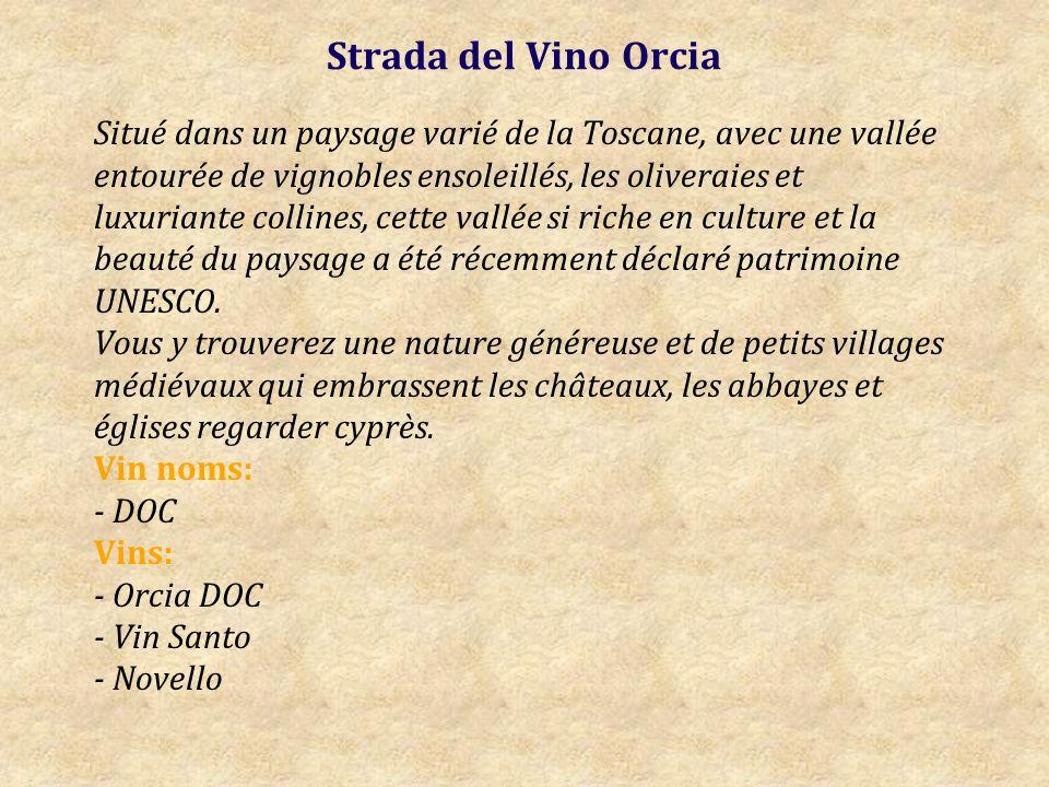 Strada del Vino Orcia Situé dans un paysage varié de la Toscane, avec une vallée entourée de vignobles ensoleillés, les oliveraies et luxuriante collines, cette vallée si riche en culture et la beauté du paysage a été récemment déclaré patrimoine UNESCO.
