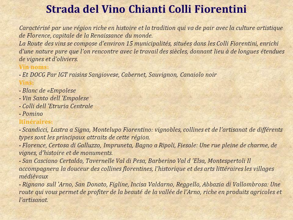 Strada del Vino Chianti Colli Fiorentini Caractérisé par une région riche en histoire et la tradition qui va de pair avec la culture artistique de Florence, capitale de la Renaissance du monde.